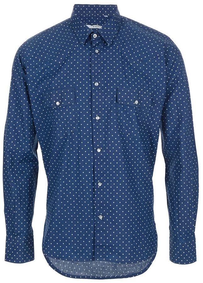 Navy Polka Dot Longsleeve Shirt by U-NI-TY. Buy for $355 from farfetch.com