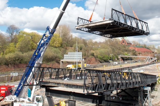 'Eyesore' bridge is removed to make way for Stockport town centre development - Manchester Evening News