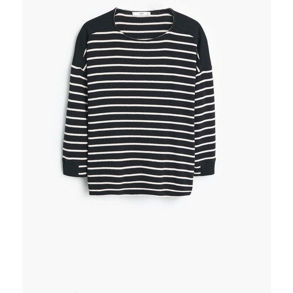 MANGO Striped Cotton-Blend Sweater (8.785 HUF) via Polyvore featuring tops, sweaters, stripe sweater, white striped sweater, mango tops, white top and long sleeve striped top