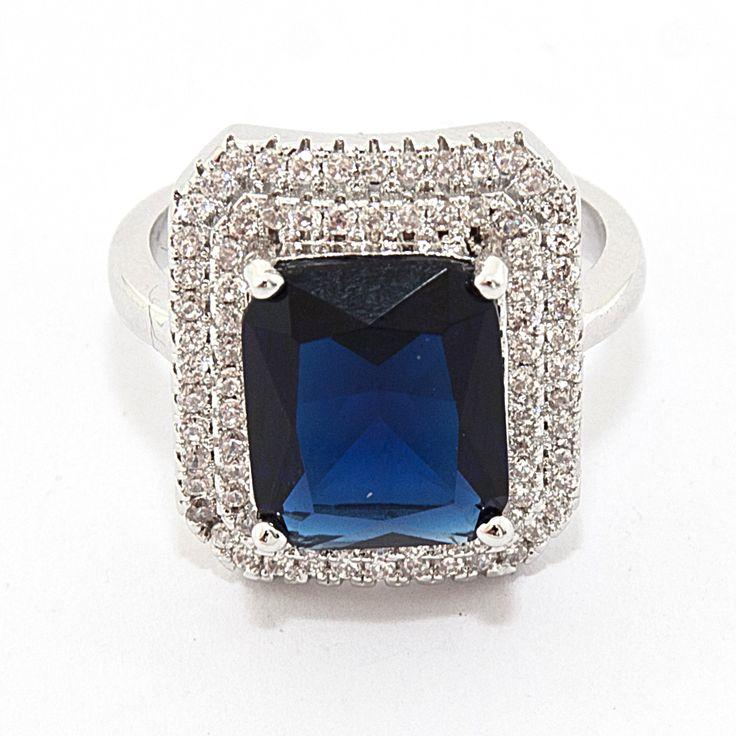 """Кольцо """"Blue Crystal"""", бижутерный сплав, крупный синий кристалл, цена 200 грн, beauty-mix.com.ua"""