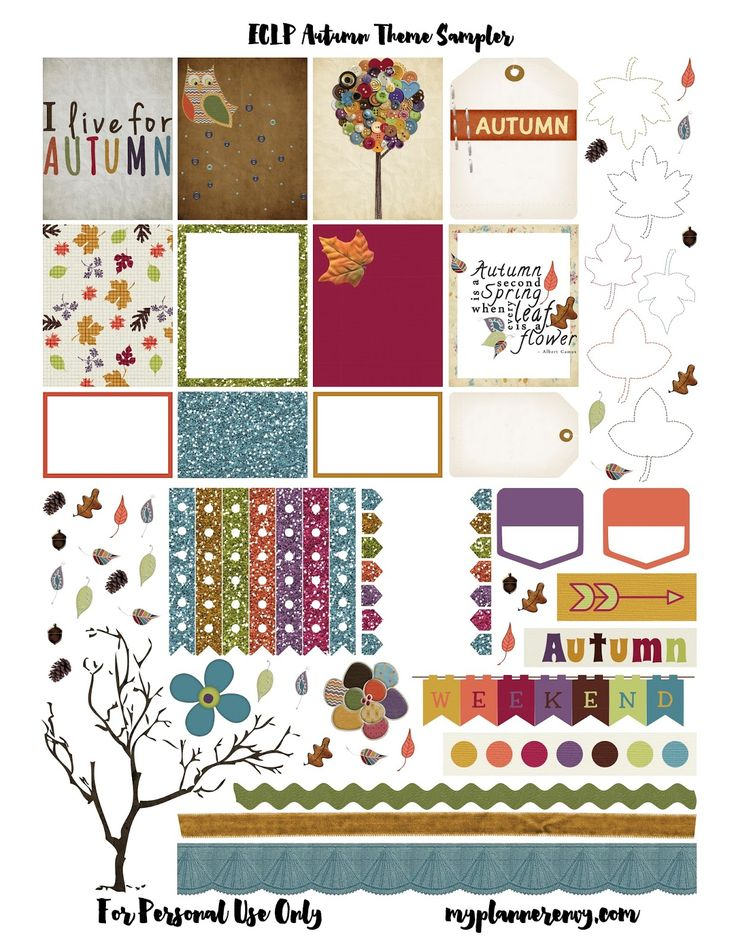 Free Printable Autumn Sampler Planner Stickers  {PDF, JPG and Studio3.  For The Happy Planner and Erin Condren} from myplannerenvy.com