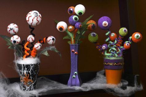 halloween deko selbstgemachte strauße augen styropor kugeln
