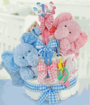 A diaper cake for twins!