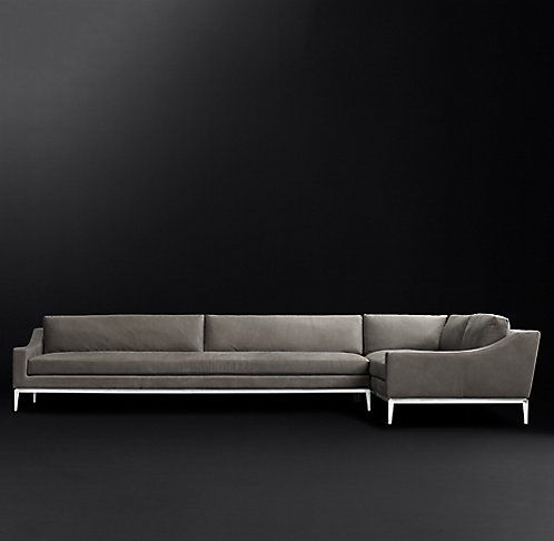 Italia Slope Arm Leather Sectional | RH Modern