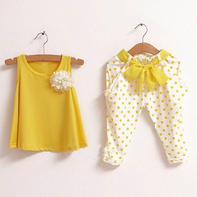 2016 novo Design do bebê roupas de verão define t-shirt calças meninas roupas flor doces Polka Dot colete Harem Pants Twinset