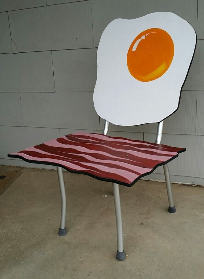 Elegant Bacon And Egg Art Chair For The ONE Show, 2014