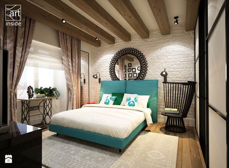 Sypialnia z turkusowym akcentem - zdjęcie od art inside - studio projektowania wnętrz i ogrodów
