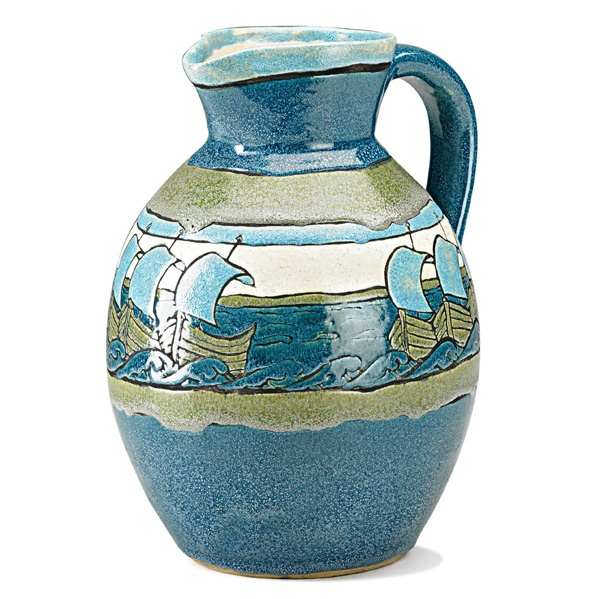SATURDAY EVENING GIRLS  Rare and early pitcher decorated with Viking ships in cuerda seca on blue and green ground, Boston, MA, 1909