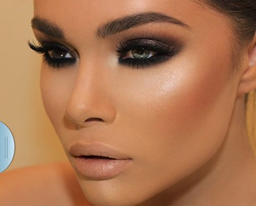 Dark Smoky Eye With A Soft Nude Lipstick Is A Perfect Look For A
