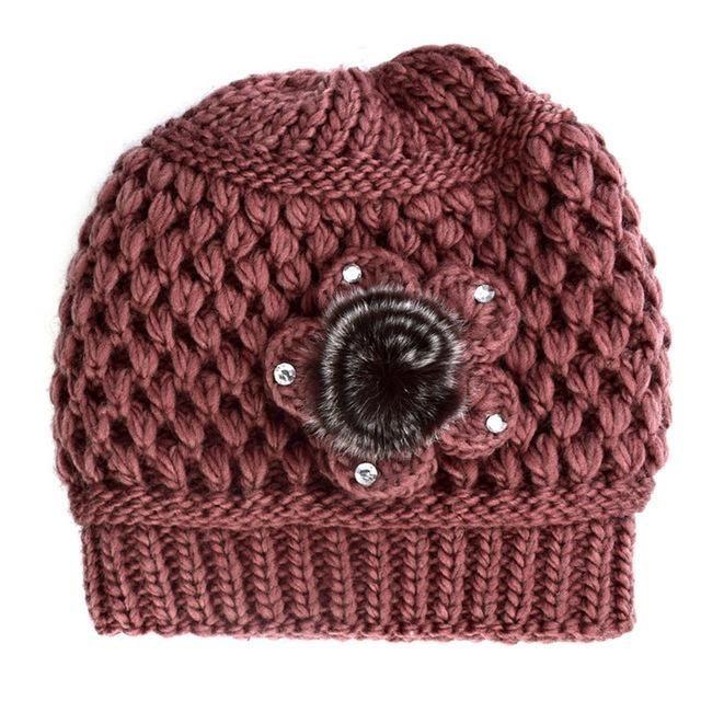 Women Winter Beanie Hat Faux Fur Knitted Hat Mid-aged Female Skullies & Beanies Hats for Women WKC003 #HatsForWomenWinter