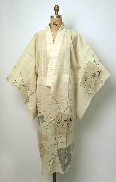 Kimono (image 1) | Japan | 1875 | linen | Metropolitan Museum of Art | Accession Number: 1977.359a