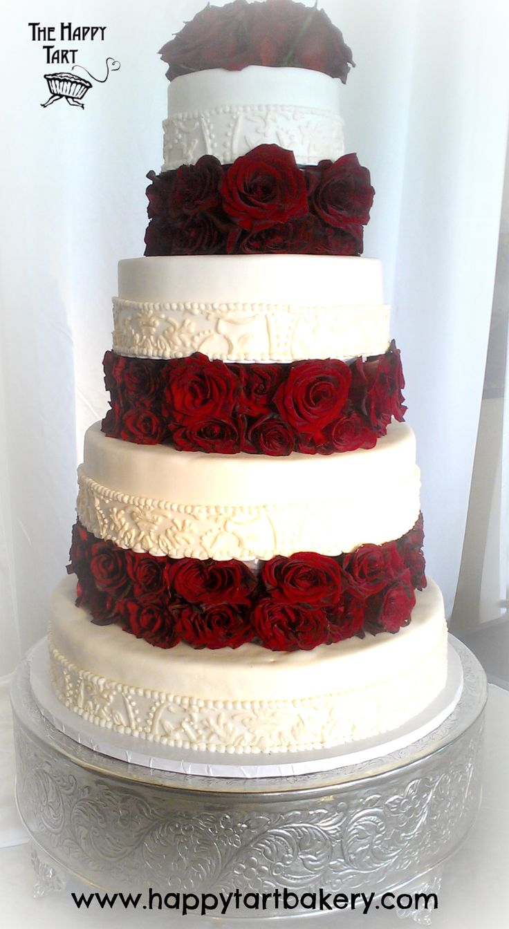 wedding cakes los angeles prices%0A Gluten Free Fondant Wedding Cake with Piped Brocade Lace and Floating Tiers  with Red Roses