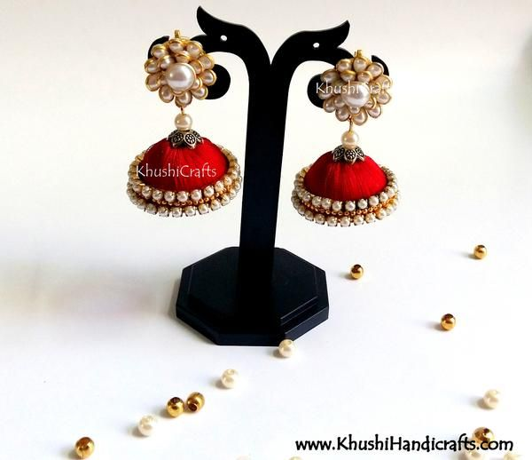 3a3dde090 Buy Red Silk Jhumka With Pachi Stud Online! Silk Thread Jhumkas, Thread  Jewellery,