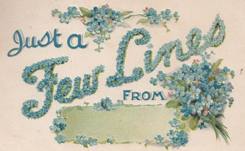Just A Few Lines From 3D Ornate Antique 1912 Silk Postcard