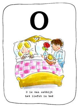 Alfabetkaart, O is van ontbijt- Greetz