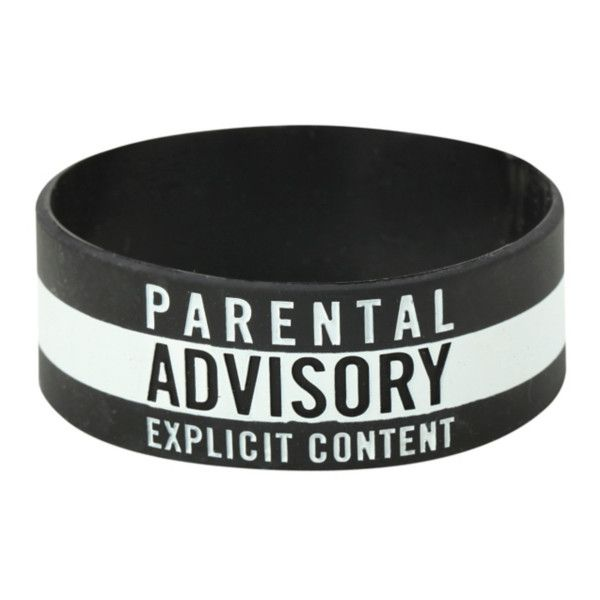 Parental Advisory Rubber Bracelet | Hot Topic ($5) ❤ liked on Polyvore featuring jewelry, bracelets, accessories, rubber bangles, rubber jewelry, bracelet bangle, rubber bracelet and bracelet jewelry