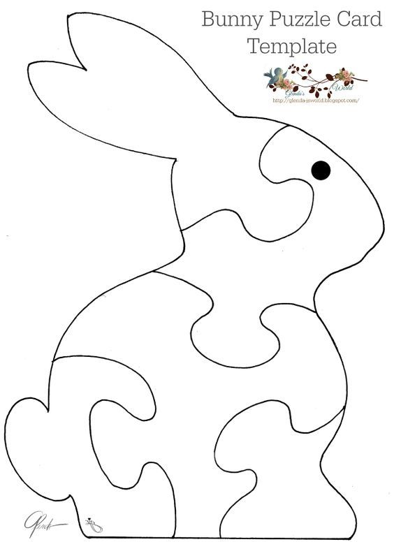 Free Puzzle card templates Bear, Turtle, Whale & Bunny