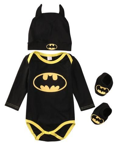 Cool Batman Newborn Infant Baby Boys Romper+Shoes+Hat 3pcs Outfits Set