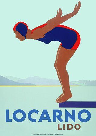 Locarno Lido, Switzerland by Empayataz   Vintage Travel Beach Poster art Deco #essenzadiriviera www.varaldocosmetica.it   olive oil cosmetics