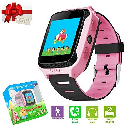Kids Smartwatches with GPS Flash Night Light Touch Screen Anti-lost Alarm Smart Watch Bracelet for Children Girls Boys Compatible for iPhone Android (001 Pink with Pedometer)