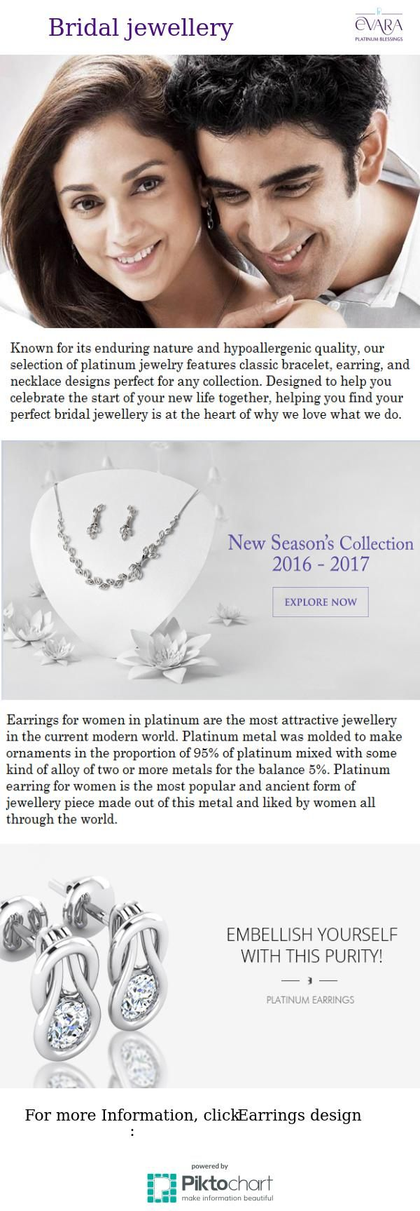 Evara presents Platinum Bridal jewellery collection to serve to all occasions related to Indian weddings.