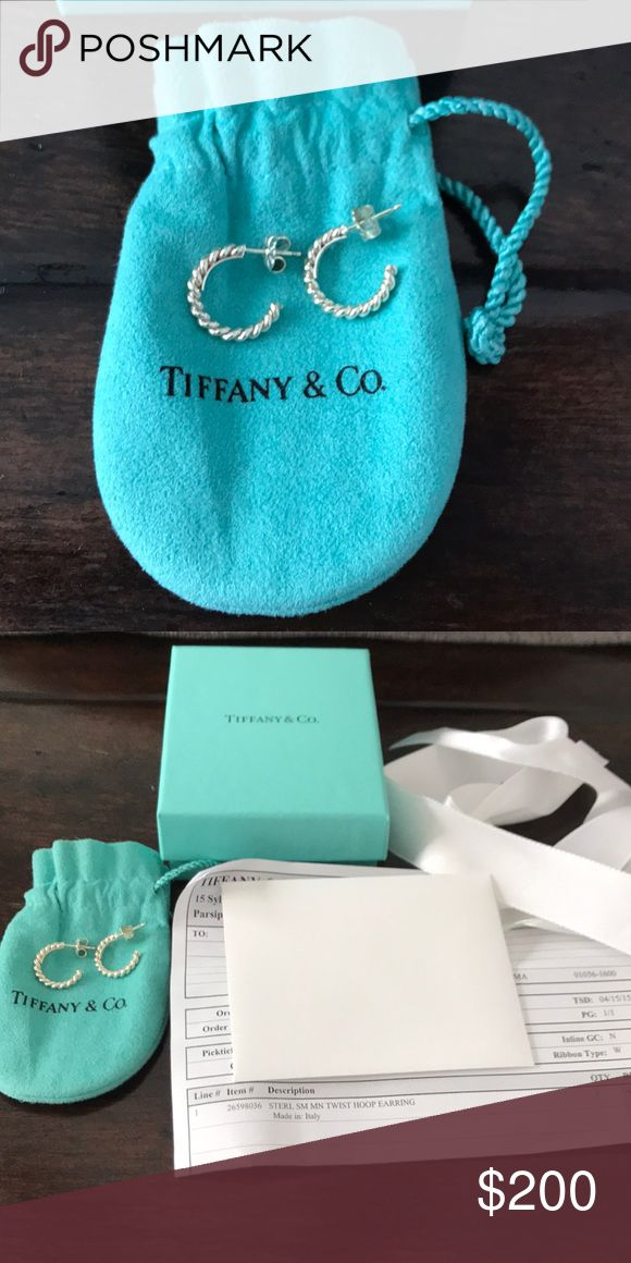 Tiffany & Co. Silver Small Twist Hoop Earrings Rare/Unique, no longer available. EUC, no flaws or damage whatsoever. Gift giving condition! Includes dust bag, gift box with ribbon, blank gift card & original receipt. No trades. Tiffany & Co. Jewelry Earrings