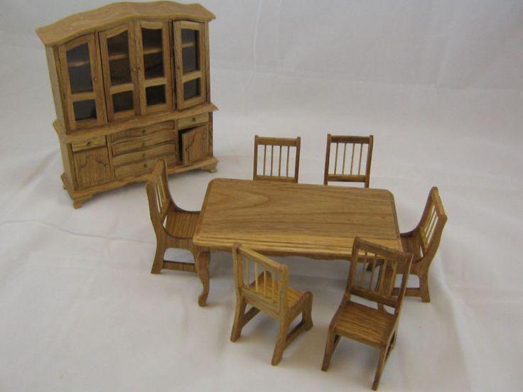 Oak Dining Room Set dollhouse wooden furniture 1/12 scale 8pc T0035 #TownsquareMiniature