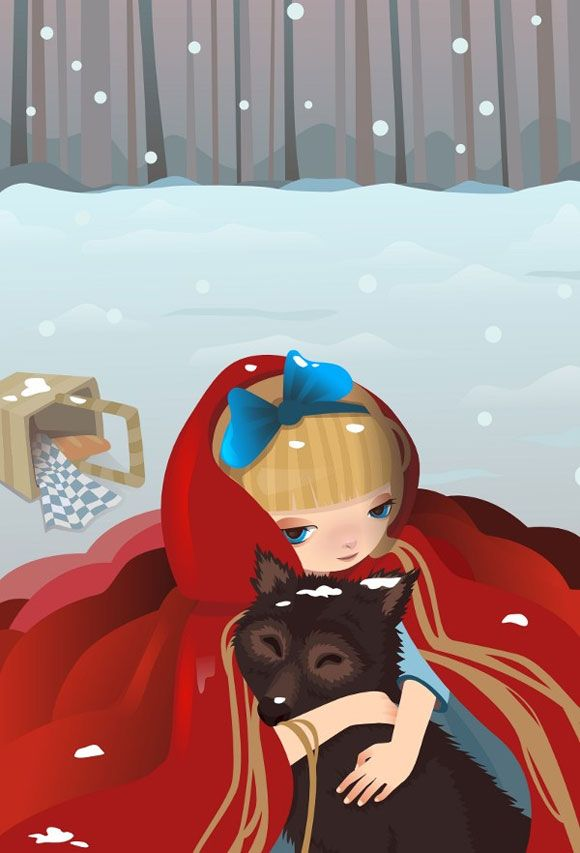 kawaii illustration of Little Red Riding Hood with cute Big Bad Wolf, illustrazione di Cappuccetto Rosso con il Lupo cattivo
