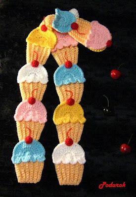 Crochet Cake -Chart: Beautiful Patterns, Cakes Charts, Crochet Cupcakes Free Patterns, Free Crochet Cupcakes Patterns, Crochet Patterns, Crochet Cakes, Cupcakes Appliques, Crochet Scarfs, Cupcakes Scarfs