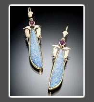 Opal Earrings with 14K Gold Herons