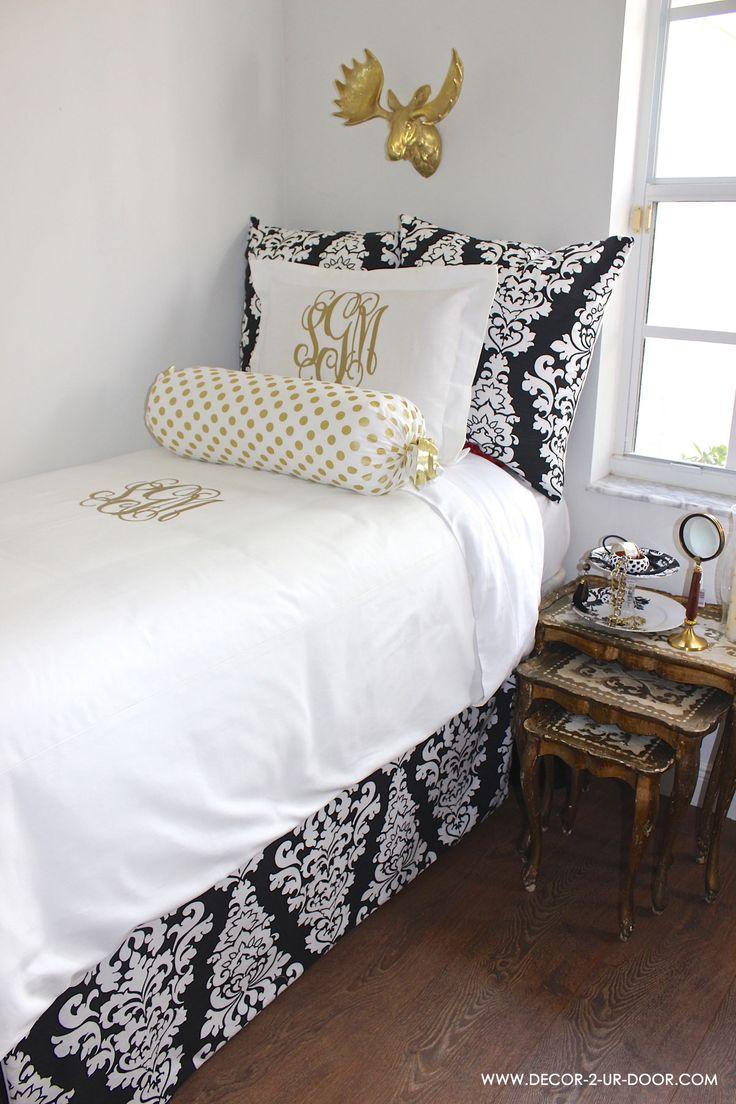 Gold Black And White Teen Room  DORM  Dorm room bedding Dorm Room Preppy dorm room