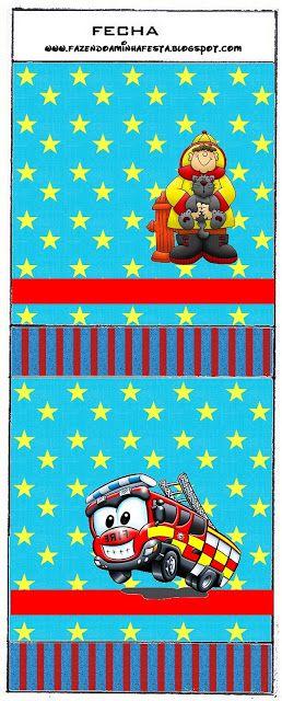 Bombeiro - Kit Completo com molduras para convites, rótulos para guloseimas, lembrancinhas e imagens! - Fazendo a Nossa FestaFazendo a Nossa Festa