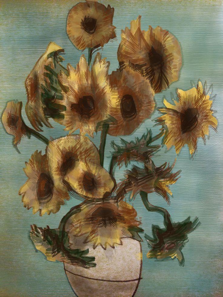 originally - Sun Flowers / Van Gogh PS drawing by Tom