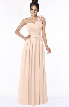 Colsbm Elisa Peach Puree Simple A Line One Shoulder Half Backless C Bridesmaid Dress Shoes Pinterest