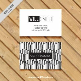 cartão de visita geométrico em preto e branco