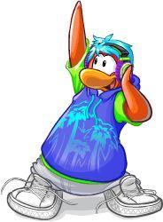 Peach Penguin with Headphones