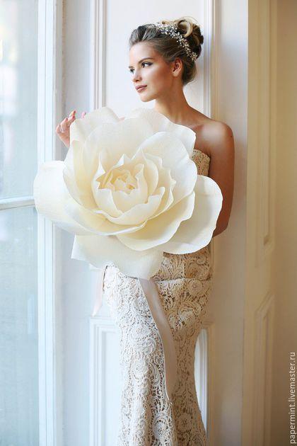 Свадебные цветы ручной работы. Большие цветы из бумаги. PaperMint. Интернет-магазин Ярмарка Мастеров. Цветы ручной работы, фотостудия