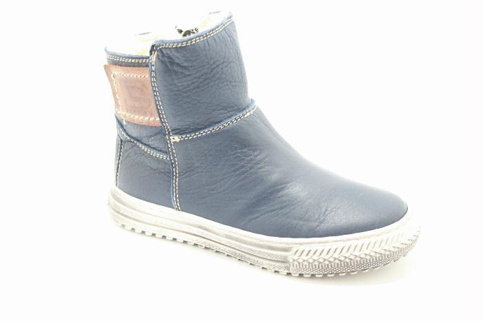 Cole bounce restore Half high boot in dark blu calfskin.. Scheepskin inside