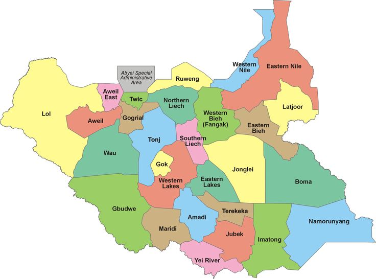Current 28 states in the Republic of South Sudan, based largely on ethnic lines