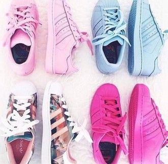 shoes pink adidas superstar adidas superstars adidas shoes blue fashion cute floral sneakers summer