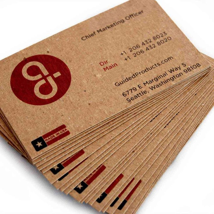 We order our 100% recycled cardboard business cards from www.guidedproducts.com