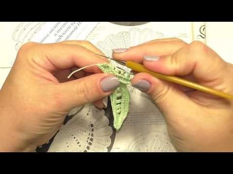 5 часть МК вязание по схеме фантазийный бутон №3 Уроки Ирландского кружева Котельниковой Натальи - YouTube