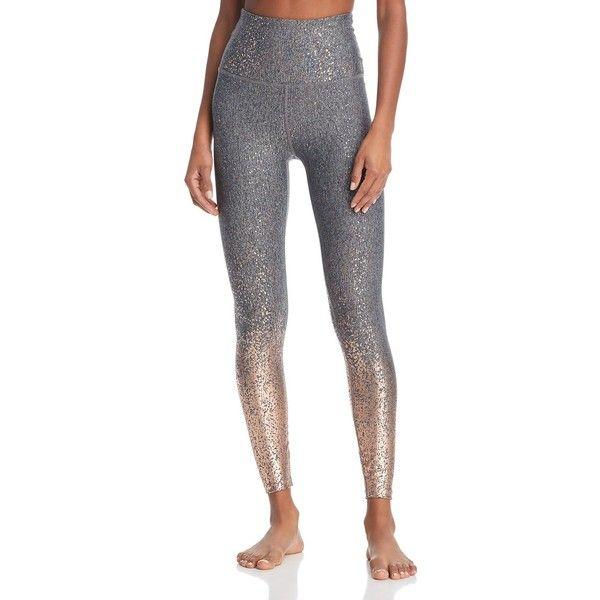 Beyond Yoga Alloy Ombre High-Waist Leggings ($115) ❤ liked on Polyvore featuring pants, leggings, gray rosegold speckle, shining leggings, high waisted wet look leggings, gray leggings, shiny leggings and beyond yoga leggings