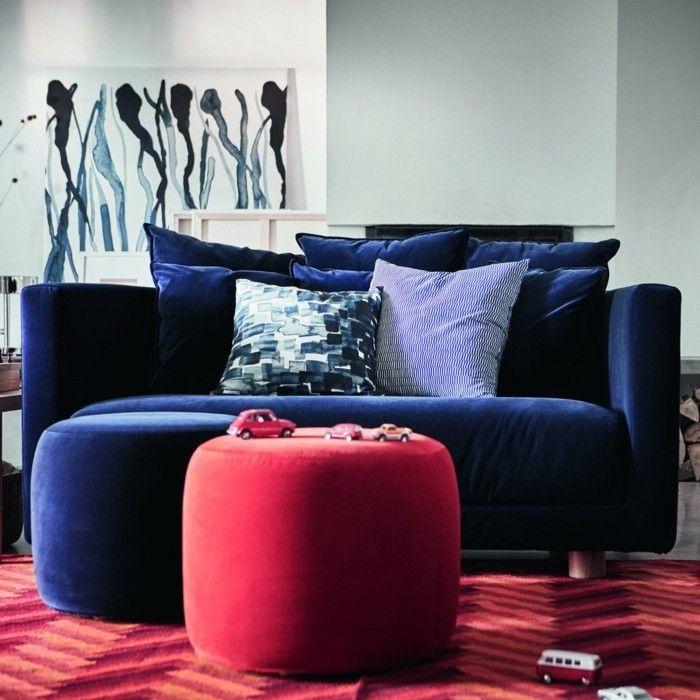 Kobaltblaues Sofa Roter Hocker Samt Wohnzimmer Ideen Ikea