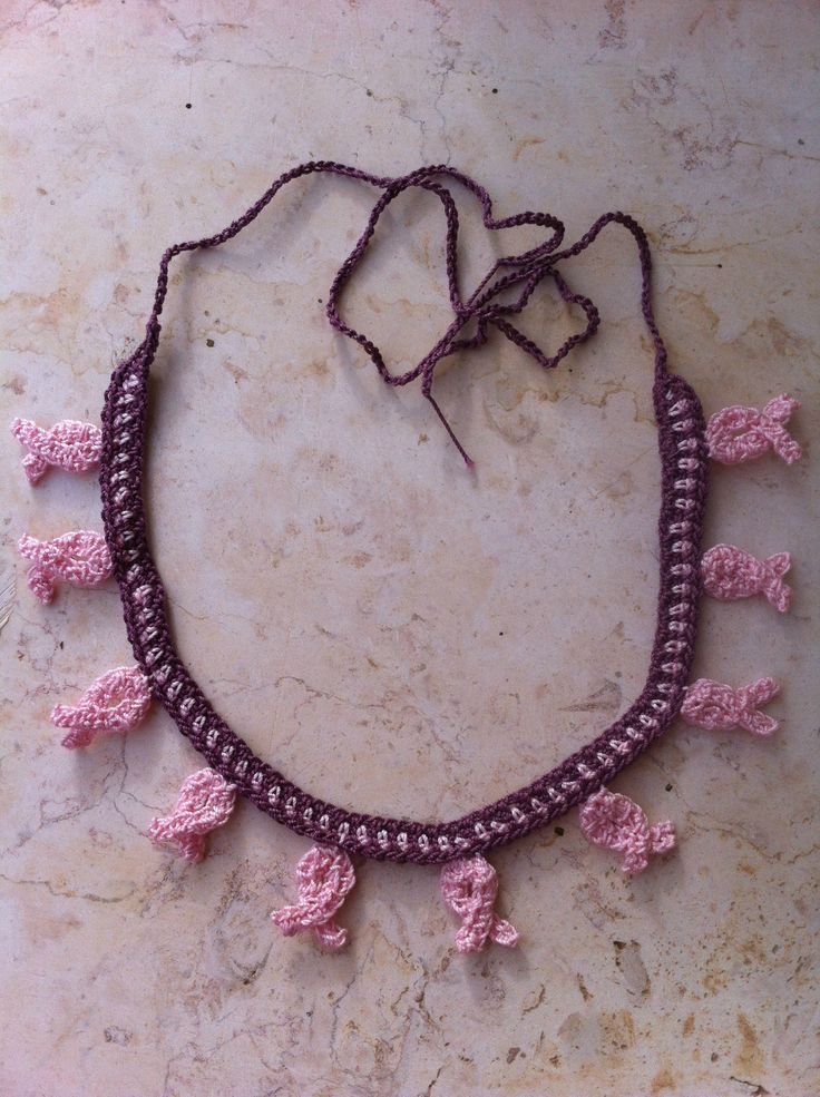 a little pink ribbon necklace for the Breast Cancer month - Disoucreations