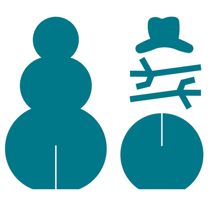 Make your own 3-D snowmen using this AccuCut die. Cut out the pieces, slide the top snowman on the base, add arms and a hat and it's ready to decorate! Makes a great table decoration and a fun craft for kids.