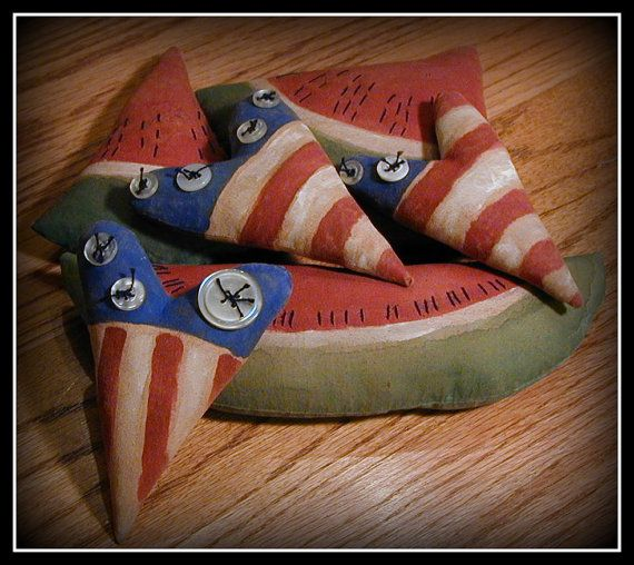 Primitive Flag Hearts and Watermelon Tucks or by ButtonsInTheAttic, $20.00