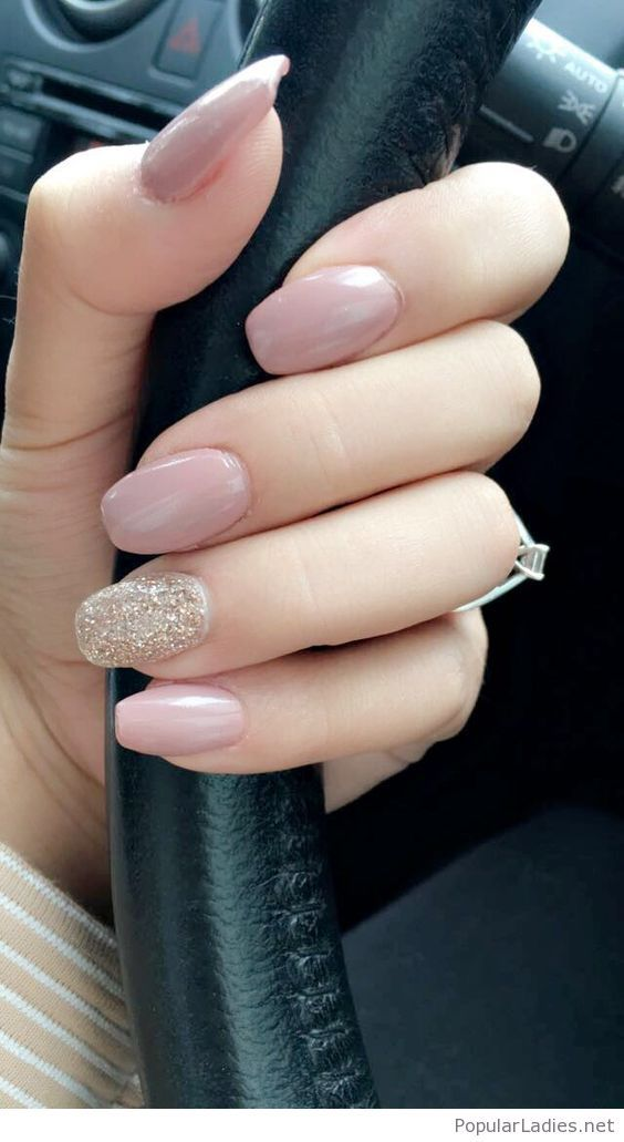 Awesome nude nails with some gold glitter detail