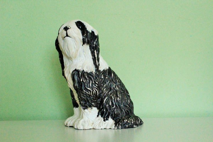 Vintage Ceramic Old English Sheepdog Figurine Statue Figure Sculpture Pottery Home Decor, Office Decor by Grandchildattic on Etsy