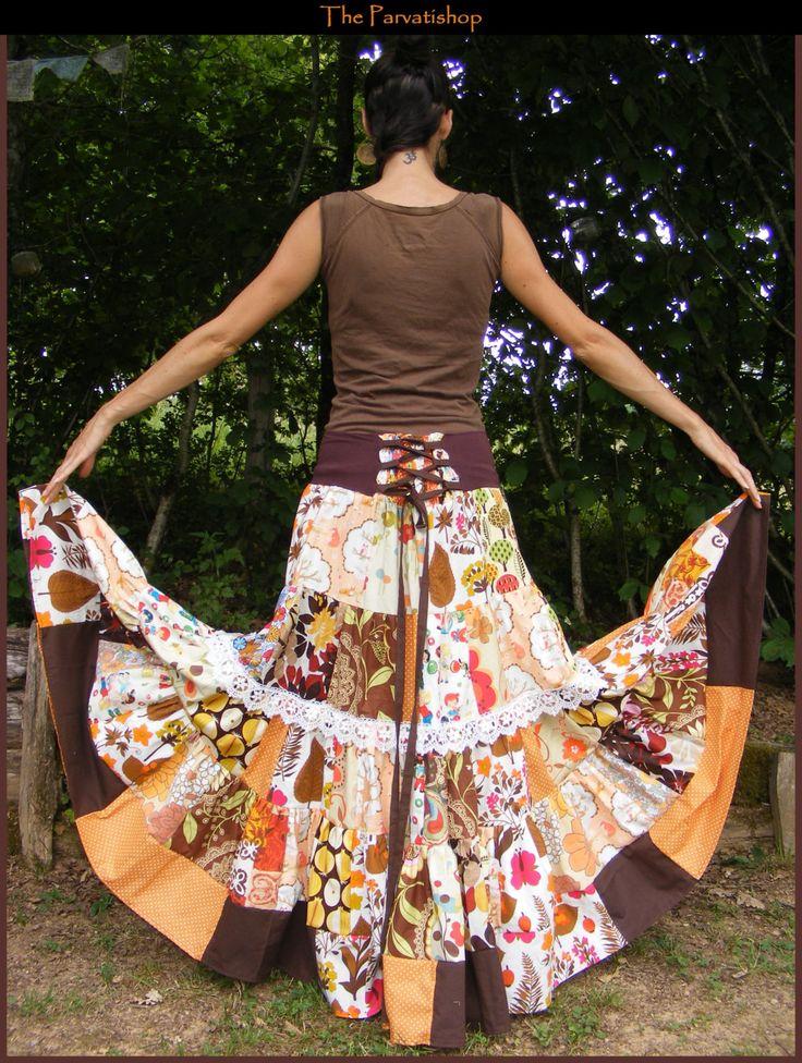 jupe gitane boheme patchwork hippie boho maxi skirt dress upcycled maxis maxi skirts and skirts. Black Bedroom Furniture Sets. Home Design Ideas